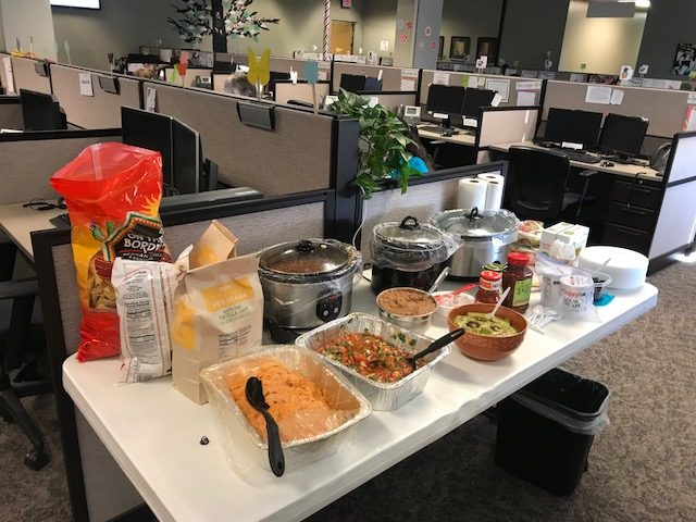 Nelnet Nacho buffet in the office cinco de mayo