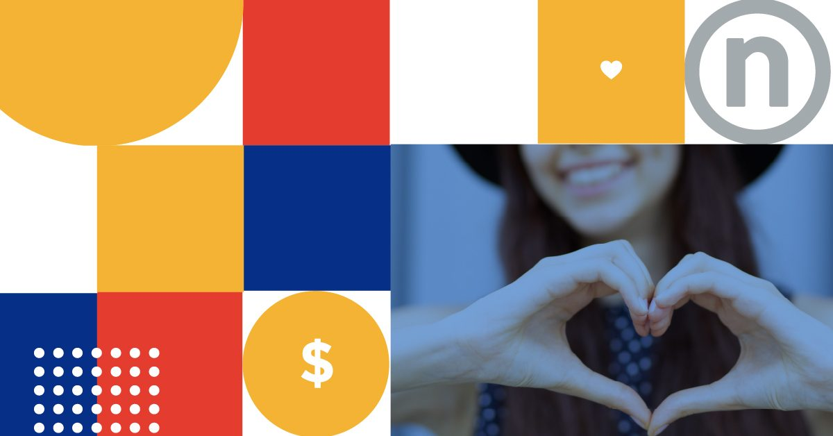 Nelnet's United Way Campaign-branded photo featuring red, blue, yellow, and white squares with hearts and dollar signs, featuring a woman making a heart with her hands