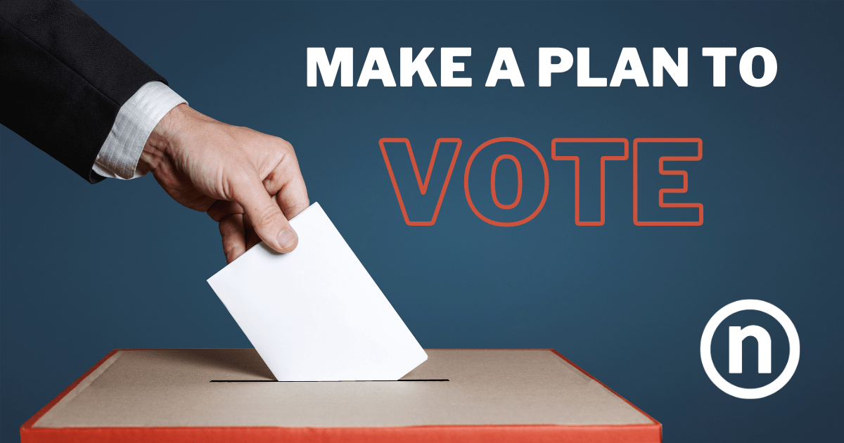 """How to Vote - Photo of a hand dropping a ballot into a box under """"Make a Plan to Vote"""" text."""