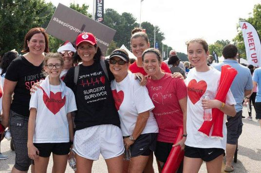 Walkers celebrate at a previous Lincoln Heart and Stroke Walk